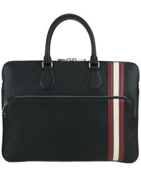 Bally - Striped Leather Briefcase - Lyst