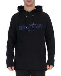 Balmain - Logo Print Hoodie - Lyst