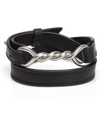 Céline - Twisted Pendant Leather Wrap Bracelet - Lyst