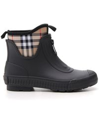 Burberry - Black And Beige Flinton Rain Boots - Lyst