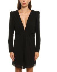 b7e86464d0c Saint Laurent Striped Flutter Dress in Black - Lyst