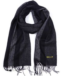 Bally - Two Tone Pattern Logo Detail Scarf - Lyst