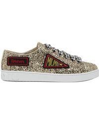 Miu Miu - Patch Embroidered Glitter Sneakers - Lyst
