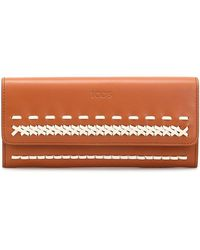 Tod's - Braided Detail Flap Leather Wallet - Lyst