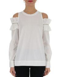 Brunello Cucinelli - Ruffled Shoulderless Shirt - Lyst