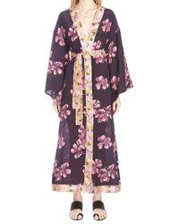 Anjuna - Mixed Print Belted Kimono - Lyst