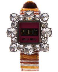Miu Miu - Crystal Embellished Fake Watch Bracelet - Lyst