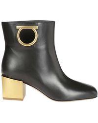 Ferragamo - Logo Detail Ankle Boots - Lyst
