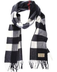 Burberry - Large Check Cashmere Scarf - Lyst