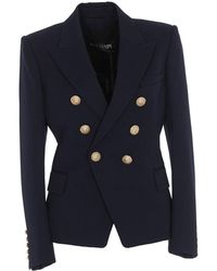 Balmain - Fitted Double Breasted Blazer - Lyst