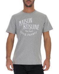 Maison Kitsuné - Palais Royal Logo T-shirt, Regular Fit Grey Tee - Lyst