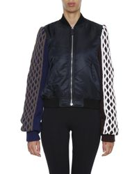JW Anderson - Cable Knit-paneled Satin Bomber Jacket - Lyst