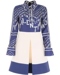 Valentino Logo Twill Shirt Dress - Blue