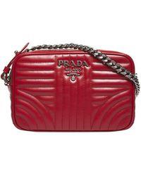 ec0ed7834e79f2 Prada - Red Diagram Medium Quilted Leather Cross Body Bag - Lyst