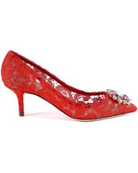 Dolce & Gabbana Bellucci Embellished Lace Court Shoes
