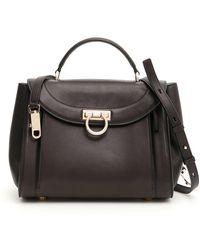 Ferragamo Sansy Leather Bucket Bag in Black - Lyst 0cded8194bfee