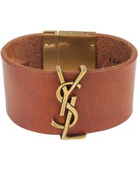 Saint Laurent - Monogram Leather Cuff Bracelet - Lyst