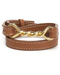 Céline - Twisted Pendant Leather Wrap Bracelet - Lyst