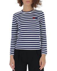 COMME DES GARÇONS PLAY - Double-heart Logo Striped T-shirt - Lyst