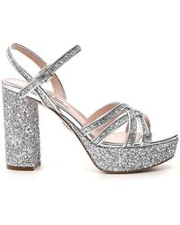 e86591a4ef9f Miu Miu - Glitter Leather Platform Sandals - Lyst