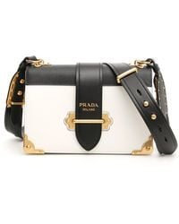 b4a45f8935ee Prada City Calf And Saffiano Bag With Logo in Green - Lyst