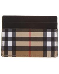 Burberry - Vintage Check Leather Card Holder - Lyst