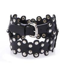 RED Valentino - Studded Leather Flower Wrap Bracelet - Lyst