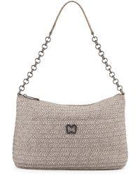 Eric Javits Metallic Zip-Top Shoulder Bag gray - Lyst