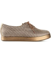 Giorgio Armani Metallic Jacquard Lace-Up Shoes - Lyst