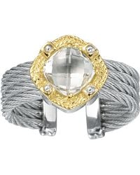 Charriol White Topaz 4row Cable Ring white - Lyst