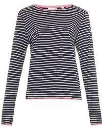 Chinti & Parker Striped Contrast-Trim Cotton Top blue - Lyst