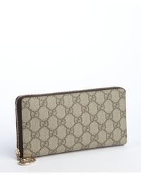 Gucci Beige Gg Coated Canvas Zip Continental Wallet - Lyst