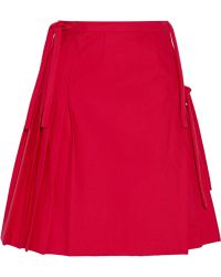 Title A - - Pleated Wrap-effect Stretch-cotton Skirt - Red - Lyst
