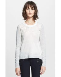 Rebecca Taylor White  Pointelle Pullover - Lyst
