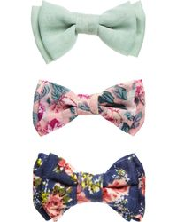 Asos Pack Of 3 Floral Bows - Lyst