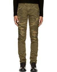 Balmain Khaki Distressed Biker Jeans - Lyst