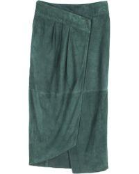 Tibi Featherweight Suede Wrap Skirt - Lyst