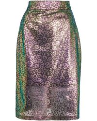 House Of Holland Green Leopard Print Shimmer Lace Skirt - Lyst