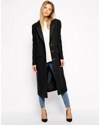 Asos Midi Coat In Wool - Lyst