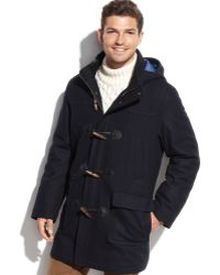Tommy Hilfiger Toggle Navy Solid Hooded Overcoat - Lyst