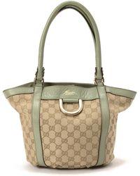 Gucci Beige & Light Green Tote Bag - Lyst