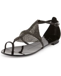Lola Cruz Rhinestone Strappy Leather Sandal Black - Lyst