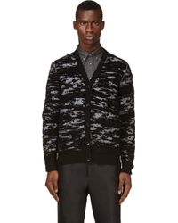 Maison Martin Margiela Black Flocked Cardigan - Lyst