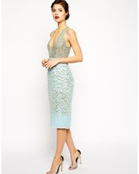 Asos Red Carpet Premium Embellished Midi Dress with Plunge Front - Lyst
