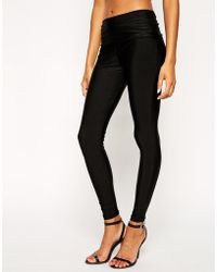 Asos Disco Shimmer Leggings with Fold Over Waistband - Lyst