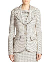 St. John Fringed Tweed Blazer - Lyst