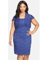 Alex Evenings Sequin Sleeveless Lace Sheath Dress With Bolero Jacket - Lyst