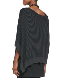 Eileen Fisher Cozy Striped Offtheshoulder Poncho - Lyst