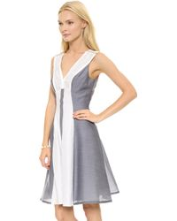 Marchesa Voyage V Neck Dress Bluewhite - Lyst