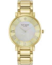 Kate Spade Gramercy Grand Mother-Of-Pearl & Goldtone Stainless Steel Bracelet Watch - Lyst